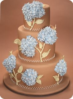 """""""Blue Hydrangea"""" by Confetti Cakes...think I'd do a cream or white-based cake rather than brown..but still....wow!"""