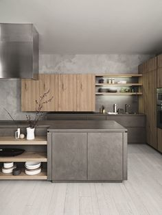 Grey + wood kitchen beton cire