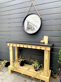 Wood and Granite Outdoor Console Table Broken Dresser, Outdoor Console Table, Backyard Projects, Backyard Ideas, Diy Projects, Concrete Porch, Painted Glass Vases, Couch Table, Faux Fireplace