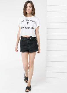 Mango Message cropped t-shirt