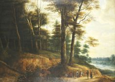 Lucas Van Uden: Landscape Near A Bustling River