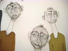 Fiona Morley  I like the idea of doing the heads in wire and mounting to foam core-possible sculpture project
