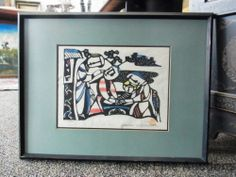 Sadao Watanabe Christian Japanese Woodblock Print Holy Family Nativity Scene vx