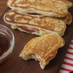 Try something fun for breakfast with these Bacon Stuffed Pancakes. They're super easy to make, and incredibly ...
