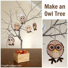 Urobte sovový strom - Drevo Slice Owl ozdoby remesiel