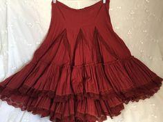 Red Peasant Skirt Les Folies d'Harry Paris Asymetrical Hem Lace Boho Chic Size M