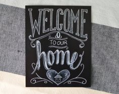 welcome. fall chalkboard art | Chalkboard Welcome Print - Chalkboard Art - Welcome Sign - Welcome to ...