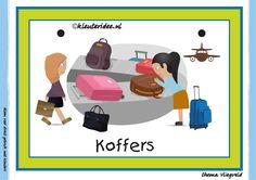 Themahoek 3 koffers bij thema vliegveld voor kleuters, juf Petra van kleuteridee, free printable