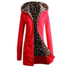 Spring Autumn New Fashion Women Ladies Long Sleeve Hoodies Sweatshirt Leopard Pattern Slim Fit Jacket Outerwear $18.04 (free shipping)