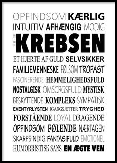 Krebsen Plakat - Tekstcollage med stikord Wall Decor Quotes, Funny Signs, Quote Prints, Good To Know, Slogan, Wise Words, Zodiac Signs, Qoutes, Wisdom