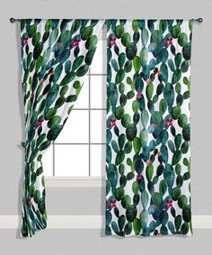 Loving this Green & Teal Cactus Curtain Panel - Set of Two on #zulily! #zulilyfinds