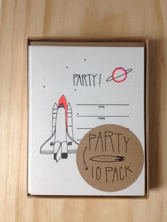 Space Rocket Party Invitations.