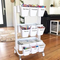 Now thats organised! I know youre all going mad for this art cart so I thought Id share it with you all. Lyndall from Craft Room Storage, Playroom Organization, Home Organisation, Ikea Storage, Bedroom Storage, Bedroom Decor, Storage Room Ideas, Craft Storage Furniture, Ikea Playroom