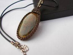 Ocean jasper wire wrapped pendant wire by KTGemstoneCreations