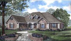 European Style House Plans - 2405 Square Foot Home, 1 Story, 4 Bedroom and 3 3 Bath, 3 Garage Stalls by Monster House Plans - Plan 12-469