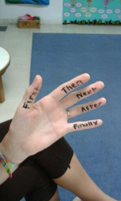 5 finger retell. Could draw round hand and then have this in on the table when writing instructions or a recount