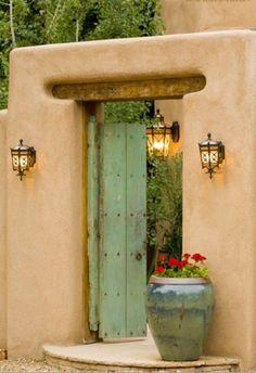 Santa Fe Stock Photographs - Icons & Architecture : Green Door with geranium Cool Doors, Unique Doors, Adobe Haus, Tor Design, Santa Fe Style, Door Gate, Door Knockers, Door Knobs, Doorway