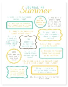 simple as that: Encourage summer journaling - printable prompts, photo and summer fun checklist