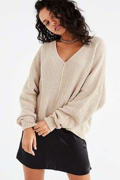 comfy sweater szn . . . . UO Oversized Chenille V-Neck Sweater