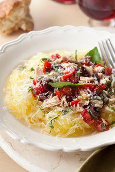 """Gluten-Free Spaghetti Squash """"Pasta"""" Puttanesca - Read More at Relish.com"""