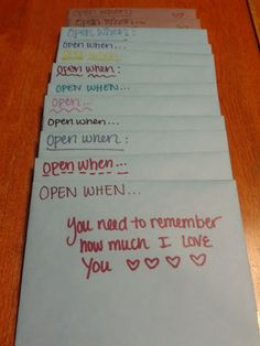 You may have seen our list of 101 Open When Letter Topics. If you have, you already know that open when letters are super popular. There probably isn't a limit on how many open when letters a person… Valentines Bricolage, Valentines Diy, Cadeau 1 An Couple, Cute Gifts, Diy Gifts, Open When Letters, Do It Yourself Inspiration, Gifts For Husband, Diy Boyfriend Gifts