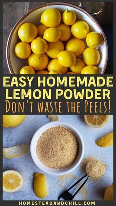 How to Make & Use Lemon Peel Powder - Got lemons? Don't waste the peels! Instead, turn them into a delicious, zesty, sweet dried lemon - Lemon Curd Dessert, Canning Recipes, Snack Recipes, Healthy Lemon Recipes, Protein Recipes, Cake Recipes, Dried Lemon, Tandoori Masala, Sauce Barbecue
