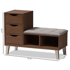 Arielle Modern and Contemporary Walnut Wood 3 Drawer Shoe Storage Light Gray Brown Baxton Studio Light Gray/Brown mit Schuhregal Shoe Storage Grey, Shoe Storage Cabinet, Bench With Shoe Storage, Storage Drawers, Wood Storage, Mesa Sofa, Upholstered Bench Seat, Home Entrance Decor, Walnut Wood