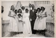 """waheedpix: """" The Wedding Party [Black Bride Series] ©WaheedPhotoArchive, 2011 """" Early 1950's? Looks like the bride may be wearing an heirloom gown.. perhaps her mother's. So beautiful.  Source: vintagebrides.tumblr"""