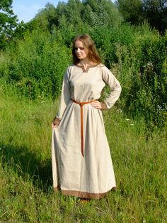 Early medieval linen underdress viking costume by DaleboraCrafts
