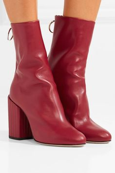 Heel measures approximately 100mm/ 4 inches Red leather (Lamb) Zip fastening along back Made in Italy