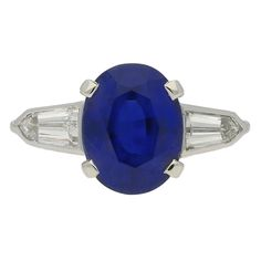 3.75 Cts Unenhanced Royal Blue Burmese Sapphire and Diamond Ring 1