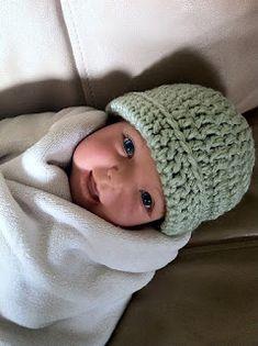 Adventures In Crochet: Free Pattern for Crochet Newborn Baby Beanie
