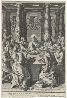 Cornelis Cort | Laatste avondmaal, Cornelis Cort, Gaspar Albertus, Pietro Paolo Palombo, 1578 | In een ruimte met gedraaide zuilen zit Christus met zijn apostelen aan een ronde tafel aan het laatste avondmaal. Op tafel een schaal met een lam. Johannes zit rechts naast Christus, zijn hoofd op de handen. Rechtsvoor Judas met een beurs in zijn hand. Op de achtergrond tussen de zuilenrij door is de voetwassing te zien.
