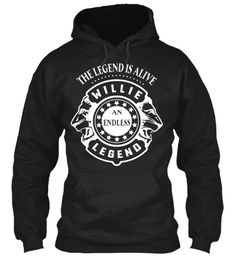 Willie Hoodies Legend, Willie!!! Black Sweatshirt Front