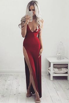 Sexy High Slit Prom Dress, Red Long Prom