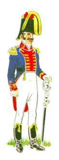 Caballería de línea. Regimiento del Rey:  Teniente coronel del Regimiento de Caballería del Rey, en uniforme de campaña. Su graduación es denotada por las dos charreteras plateadas, una encima de cada hombro y los dos galones dorados sobre la bocamanga. El emblema que lleva al cuello es un león rampante, en aquella época el distintivo común de todos los regimientos de caballería de línea. Nótense las botas cortas a lo húsar y el sable, recto.