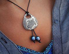 Sea Turtle Jewelry, Sea Turtle Necklace, Leather Necklace, Sterling Silver Necklace, Leather and Pearl Jewelry, Leather and Pearl Necklace