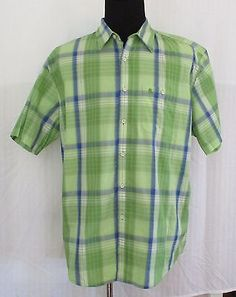 Bass Mens Button Up Shirt Short Sleeve Sz XL Tall  Green Checked New
