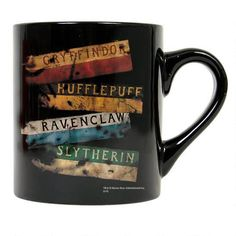 This Harry Potter mug features the Gryffindor Slytherin Ravenclaw and Hufflepuff house banners. This black ceramic mug holds 11 ounces…