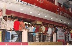 India People rush in queue outside ATM for withdrawal and deposit the 500 and 1000 denomination currency.