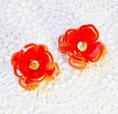Vintage Flower Power Earrings, Orange Enamel Roses, Rhinestones, Gold Clip-ons, 1970s Hippie Floral Summer Jewelry by TheGildedSwan, $14.00