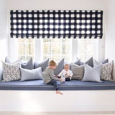 Would love a large window seat! The Buffalo Check shades, CW pillows {especially the Bluebell }, or the adorable kids? Banquettes, Kids Bedroom, Bedroom Decor, Window Seat Cushions, Window Seats, Coastal Living Rooms, Living Spaces, Girl Room, Family Room