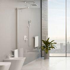 Kabina Walk In Omnires Marina. #omnires #BathroomShower #modernbathroom #ShowerSystems #kabiny #homebook #prysznicowe #przebudowadomu #kabinyprysznicowe #interiorstyle #showerdesign #design_interior_home #sobota Shower Cabin, Cabins, Bathroom Lighting, Bathtub, Mirror, Furniture, Home Decor, Bathroom Light Fittings, Standing Bath