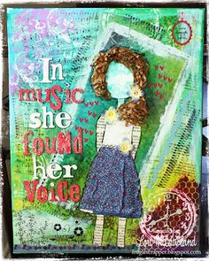 In Music she found her voice Mixed Media/Altered Art Alters, Medium Art, Art World, Mixed Media Art, Altered Art, Sign, Christmas Ornaments, My Love, Holiday Decor