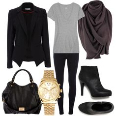 Black Blazer + Heather Gray V-neck Tee + Dark Gray Infinity Scarf + Leggings + Black Ankle Boots + Gold Watch