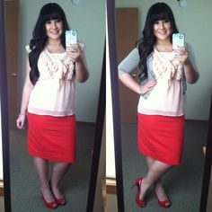 Valentines day date outfit. Red skirt, blush pink ruffled top, gray sweater, red suede pumps. Modest fashion