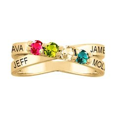 14K Gold Personalized 2-4 Stone Mother's Ring