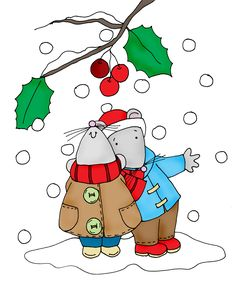 ■ Dearie Dolls... free Dearie Dolls color digi stamp of two mice standing beneath a branch of holly and berries as snow falls all around them
