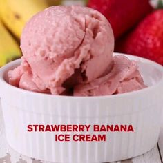 Banana Nice Cream, Love Ice Cream, Healthy Ice Cream, Frozen Strawberries, Healthy Desserts, Milk, Vanilla, Strawberry, Freeze