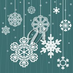 Snowflakes hang on threads on a dark blue background. A vector illustration